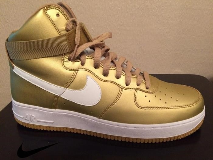 NIKE AIR FORCE HIGH RETRO METALLIC Shoes GOL Gold Mens BNI Information BKLMU34789