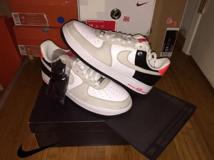 New Nike Air Force Low Premium Trade White Black Men\s Infrare Black Shoes CEHWY23568