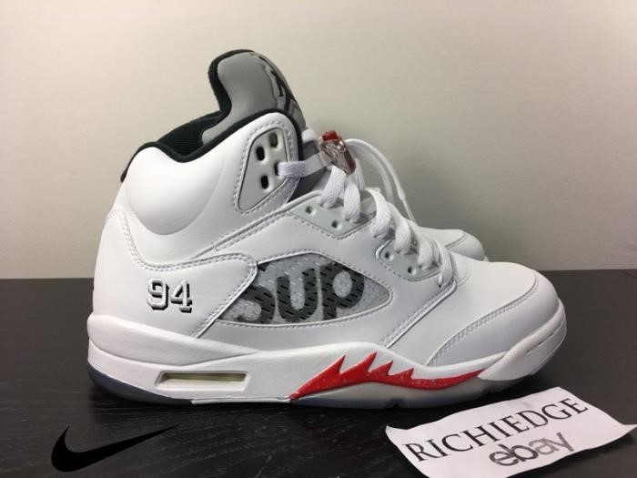 Nike Air Jordan V SUPREME WHITE Shoes VVVNDS White Mens Genre AUTHENTIC BINTUVWY58