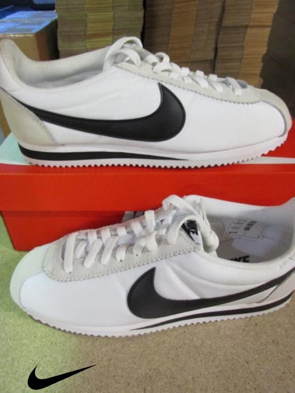 Nike Classic Cortez Nylon Detail Trainer Sneakers Shoes Mens Shoes light 100 black white bone ACEISV3689